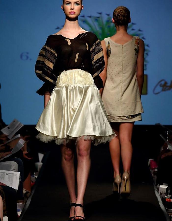 1970s inspired chiffon blouse top& satin circle skirt with smocking belt detail