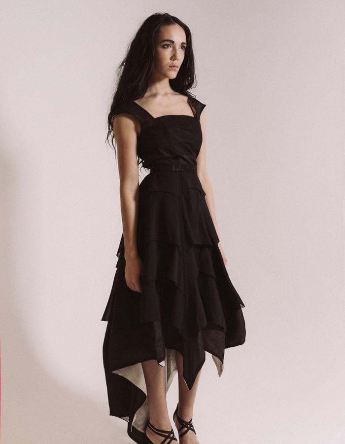 Layered black evening dress
