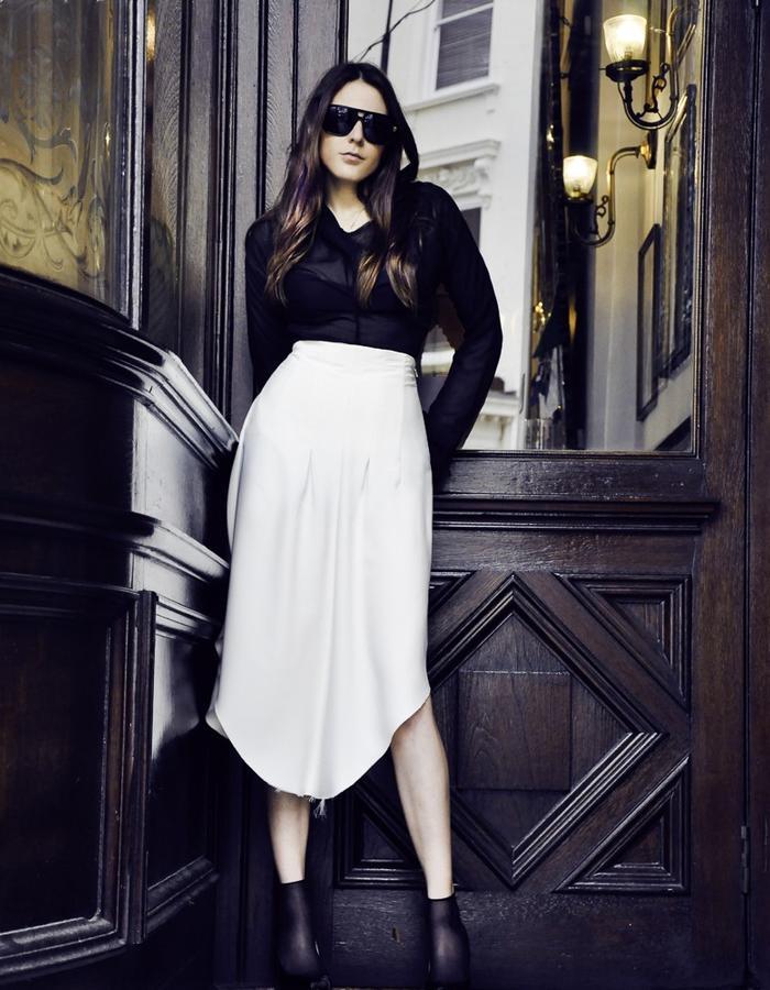 Sheer shirt and white skirt