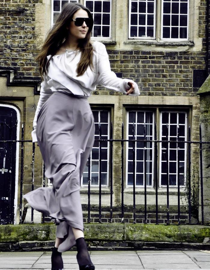 White blouse and cream skirt