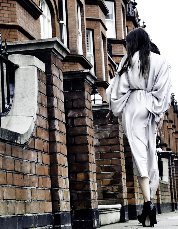 White silk kaftan dress