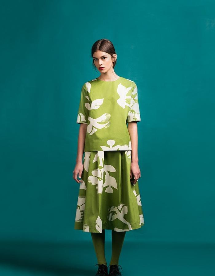 Marit Ilison Longing For Sleep Resort 16 Peridot Green Blouse and Skirt