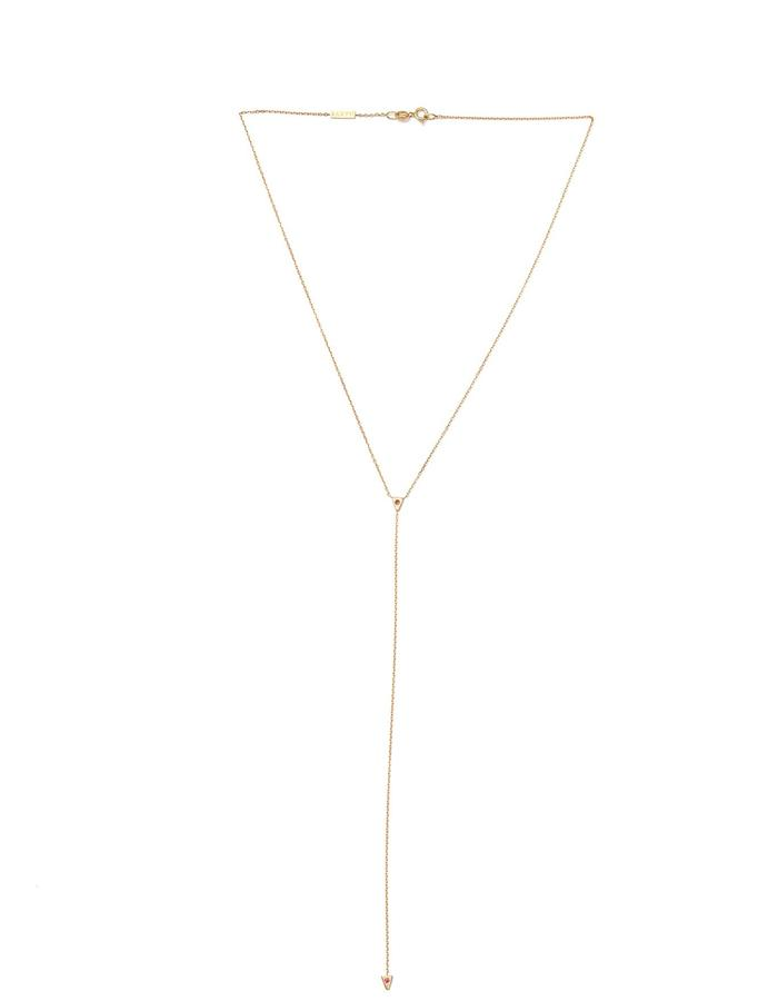 Enin 14K Gold Lariat with Rubies