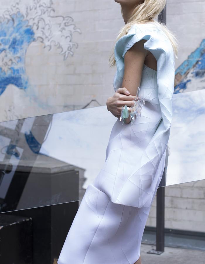BLUISH ICED CUT DRESS