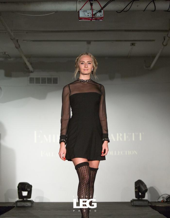Handbeaded collar black mini dress