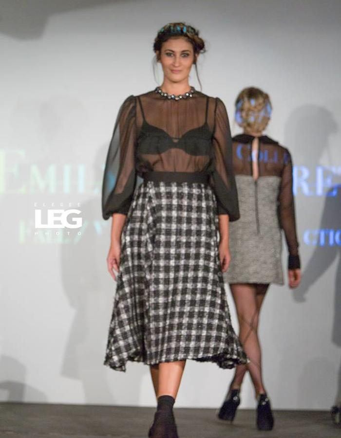 Handbeaded collar and wool skirt