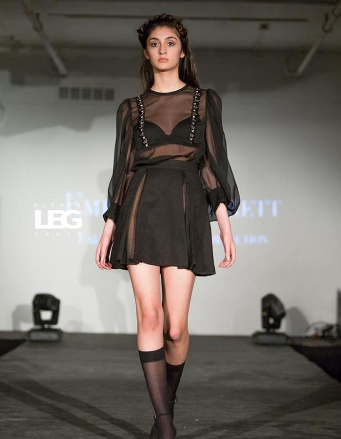 Sheer top and sheer inserts skirt