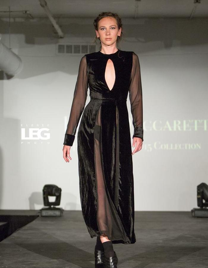 Long velvet dress with front and back opening