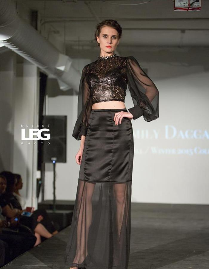Black sequins top and sheer skirt