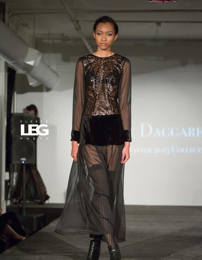 Black sequins and velvet sheer dress
