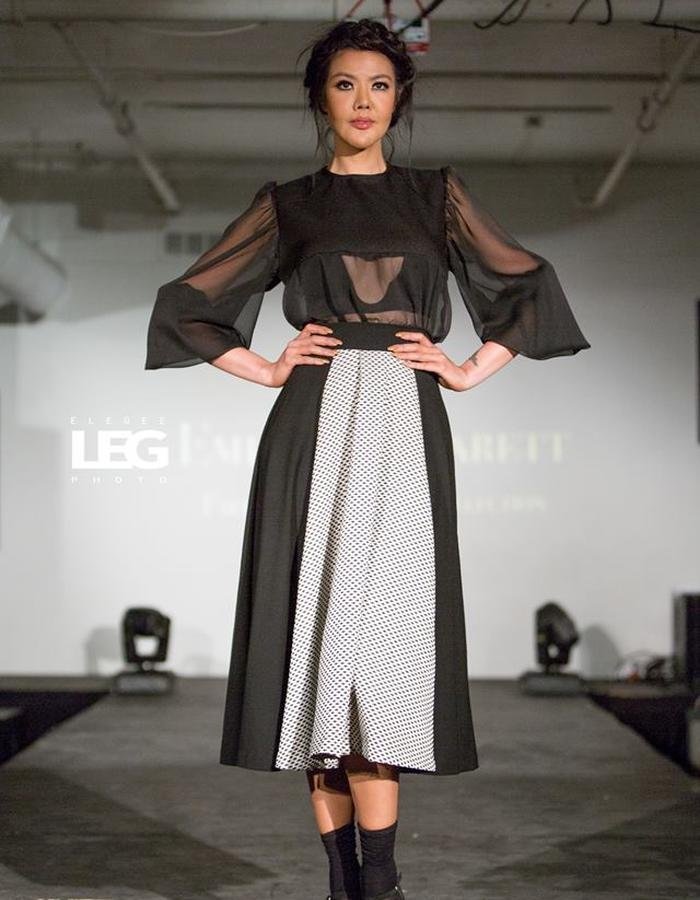 Sheer romantic top and voluminous skirt