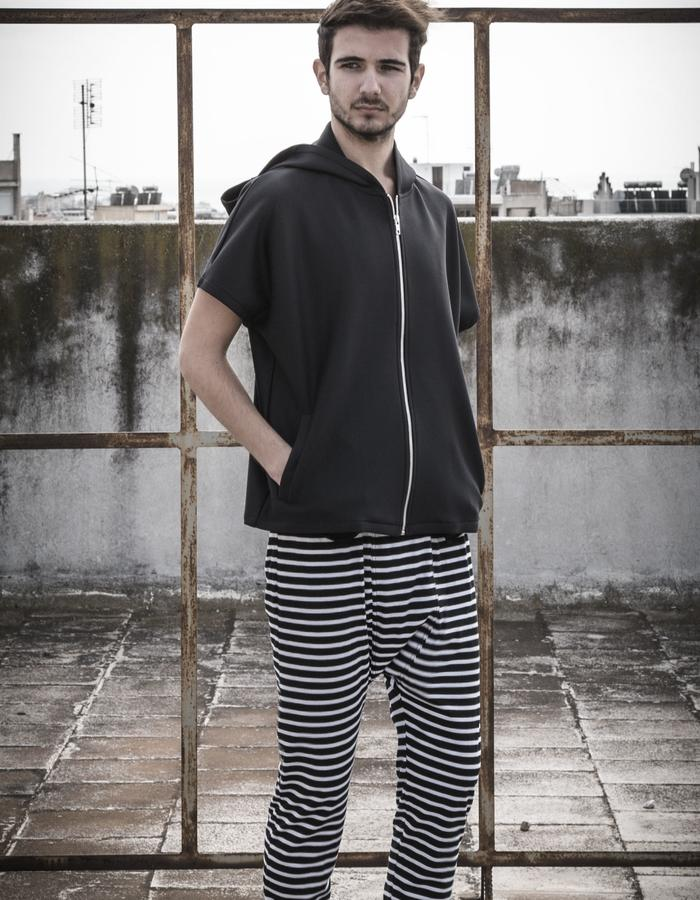 short sleeve scuba bomber worn with thin stripes grandpa trousers
