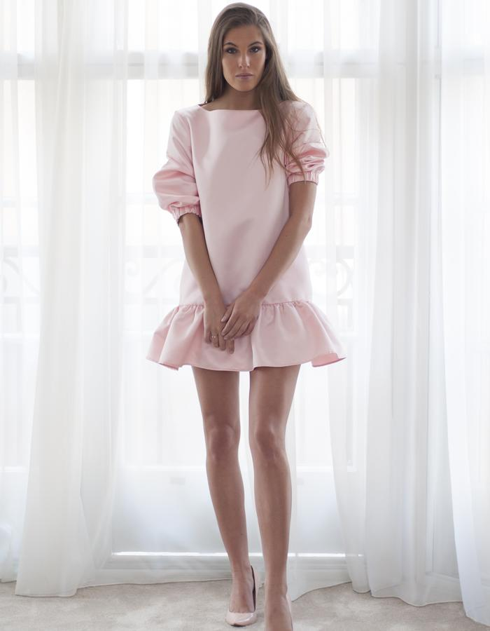 Pink Blossom silk satin mini dress