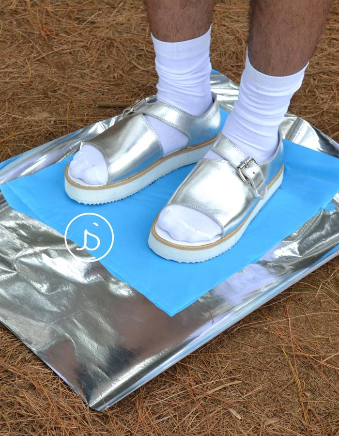 Silver Unisex Leather Sandals
