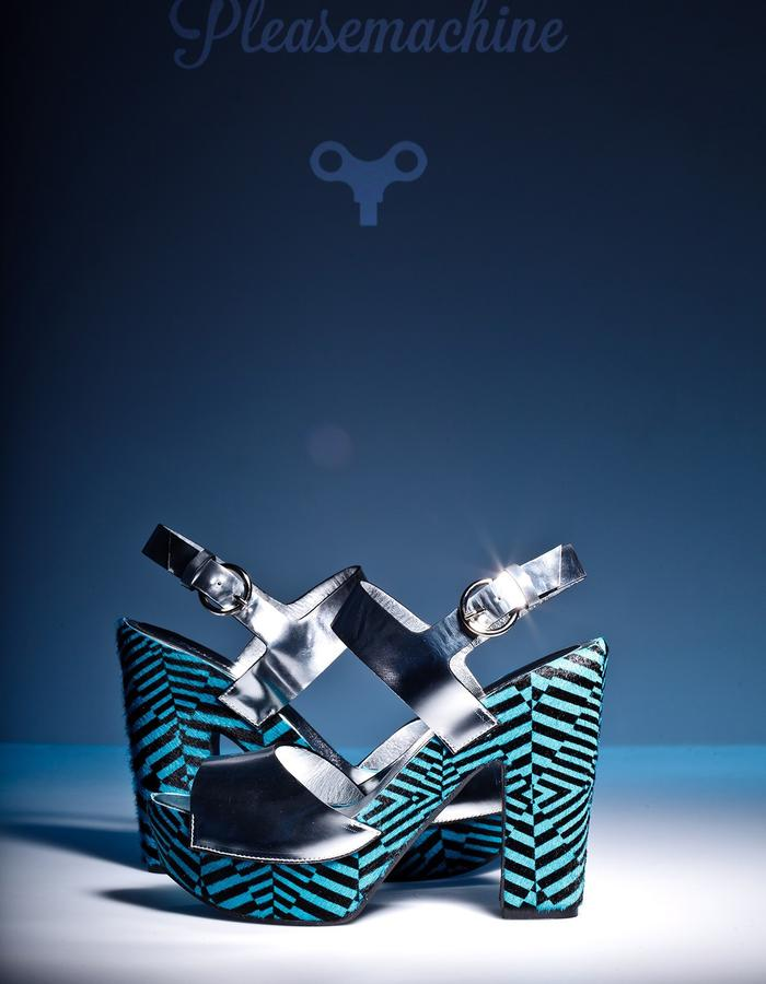 Geometric platform sandals by Pleasemachine. Mirror leather and printer hair.