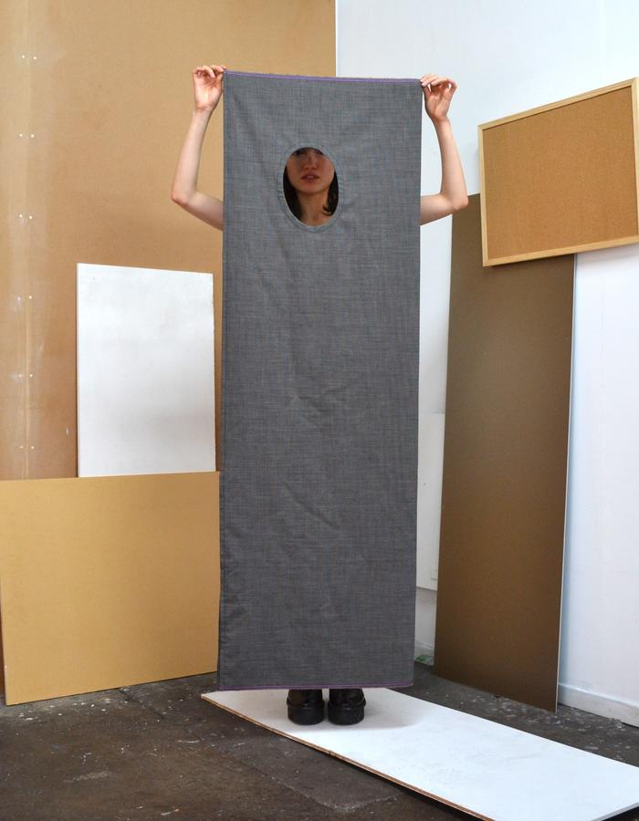 Woven grey wool 2-D dress with selvedge ends and sash