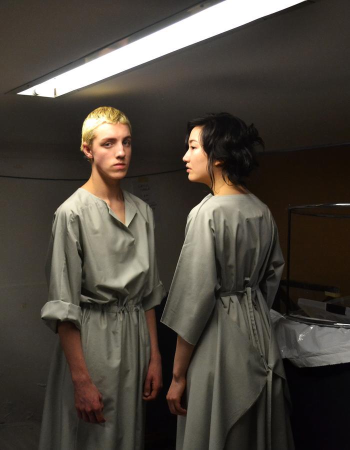 Rayon shirt dress with pockets and gathered waist. Rayon 2-D dress with waist ties
