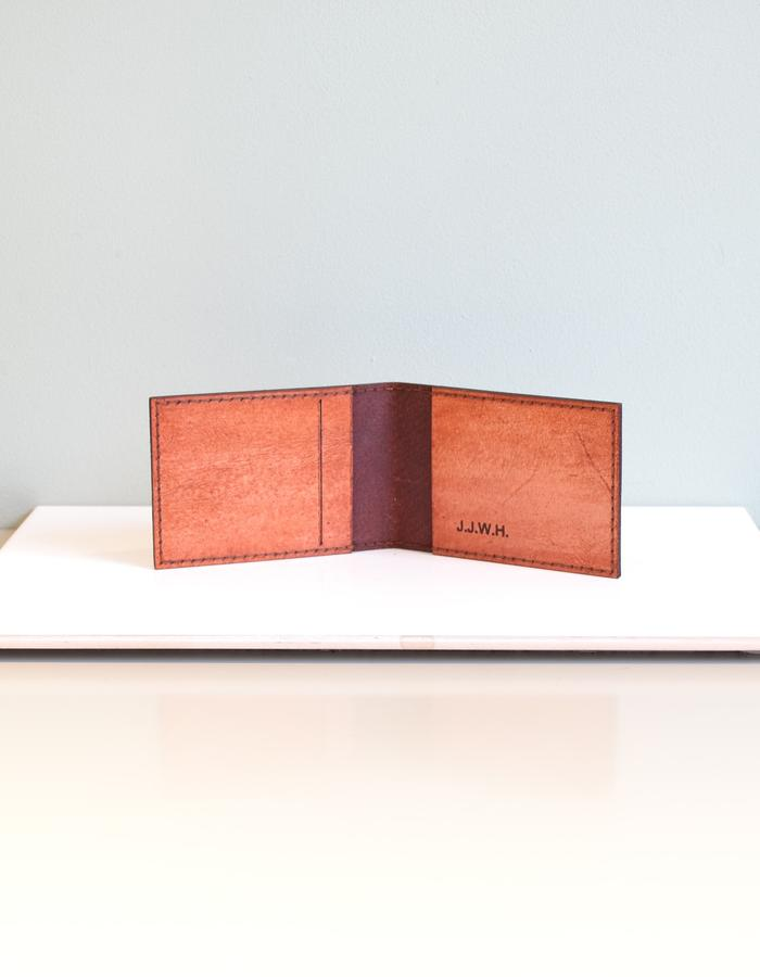 Hand-dyed hand-sewn monogrammed veg-tanned leather wallet