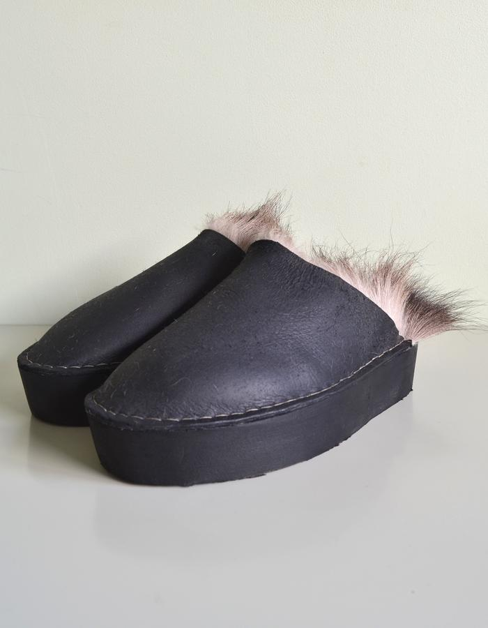 Hand-sewn hand-dyed naturally hunted chamois fur platform slippers.