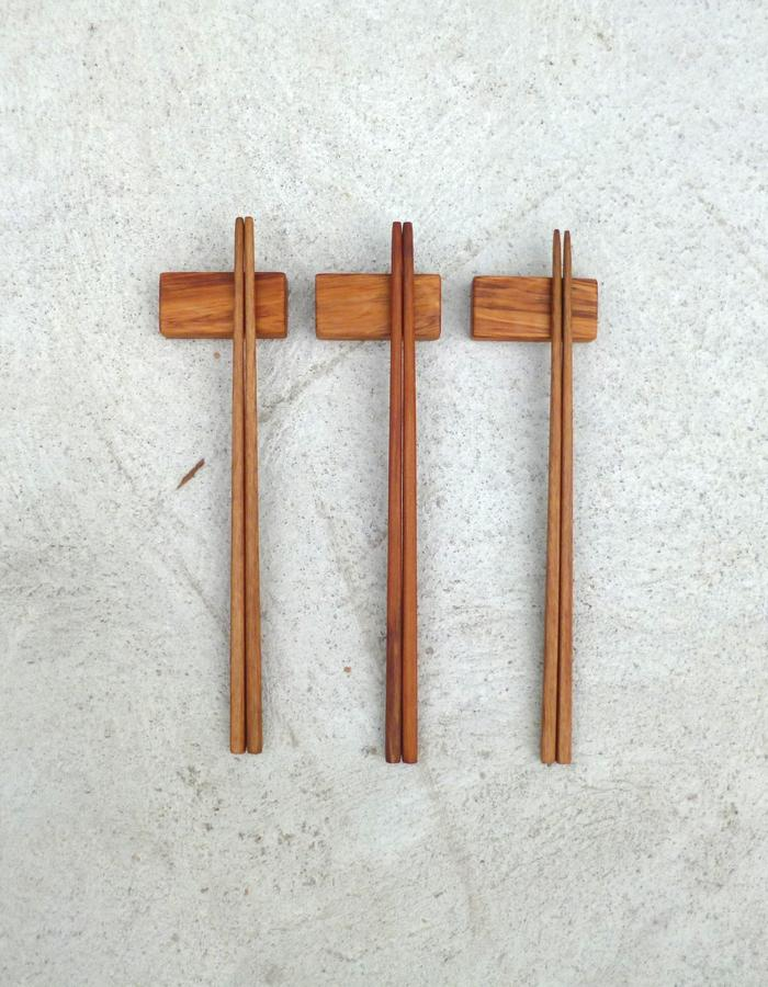 Recycled Rimu hand-carved chopsticks with matching rests with walnut oil finish