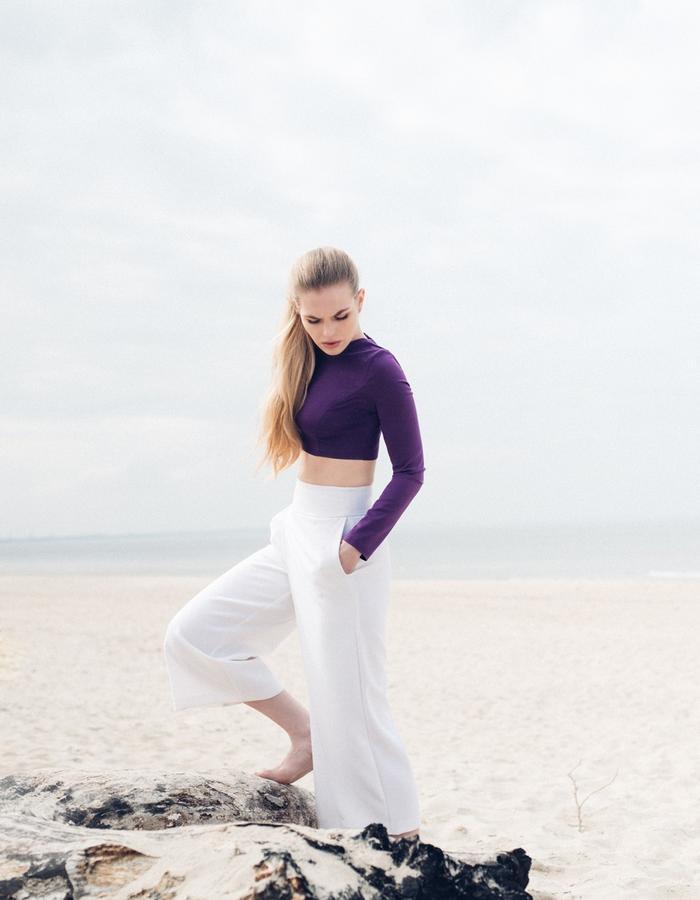 silk blouse, ecru trousers