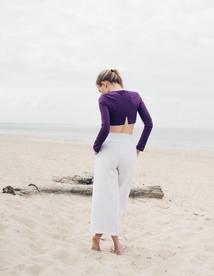silk blouse and ecru trousers