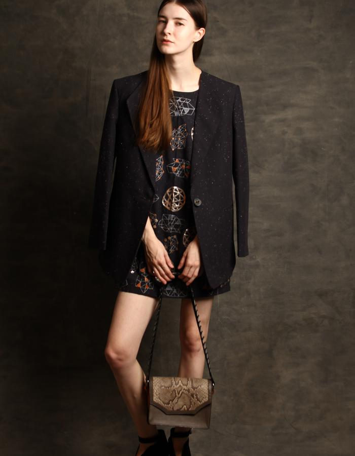 Constellation embroidered dress and woven cotton black marble blazer.