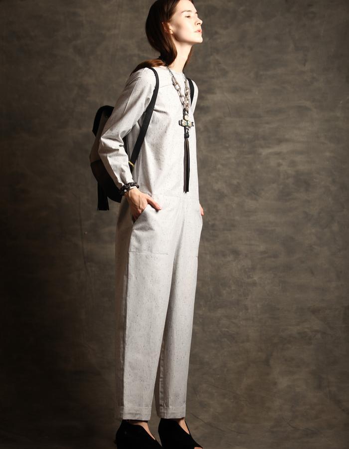 Light grey marble cotton jumpsuit.
