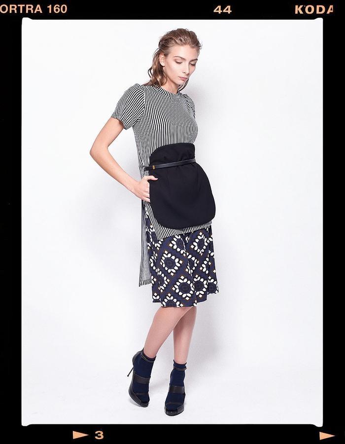 LOOK_005: Striped Miao Basic T _ Black + White; Flower Mosaic Culottes _ Navy + Khaki; Miao Moon Bag _ Black