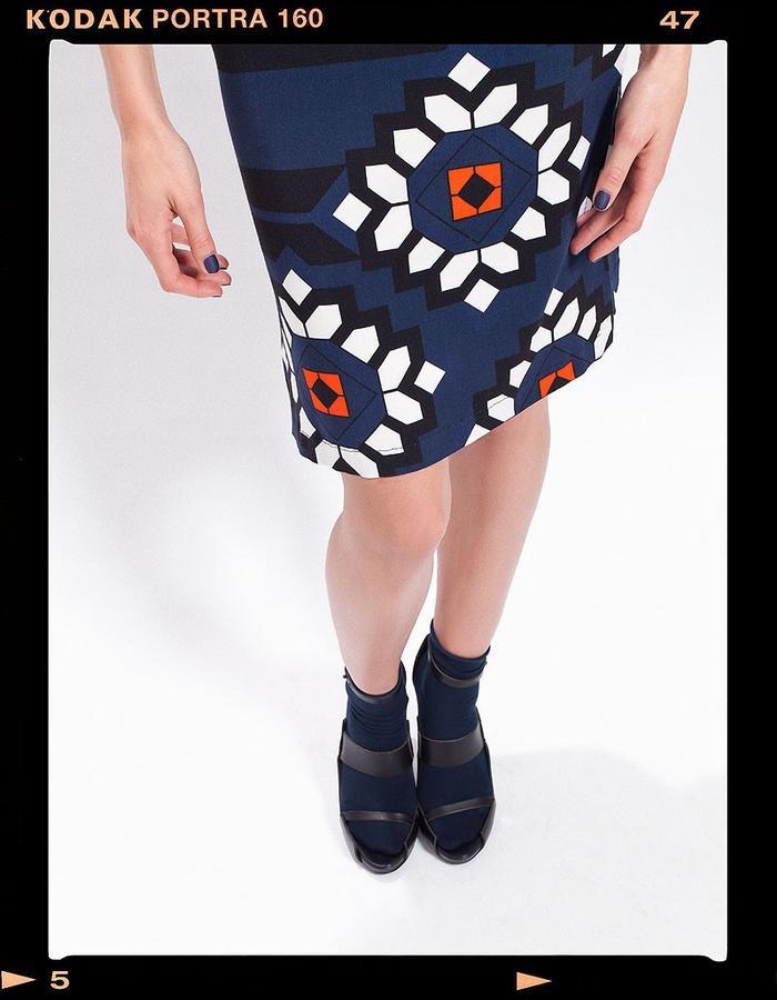 LOOK_008: Diametric Flower Print Dress _ Navy + White