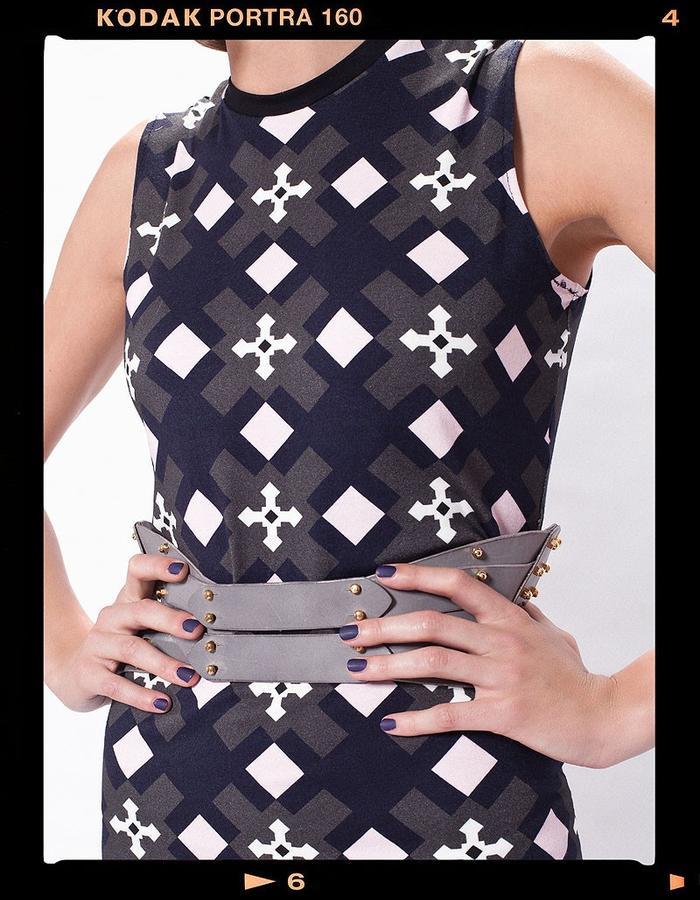 LOOK_009: Cross Long-Skirt Dress _ Grey + Pink