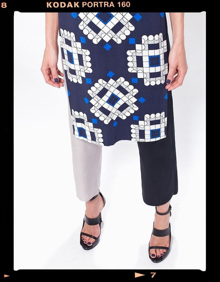 LOOK_010: Diametric Fractal Circle Reverse T _ Blue + Navy; Split Tone Trousers _ Navy + Grey