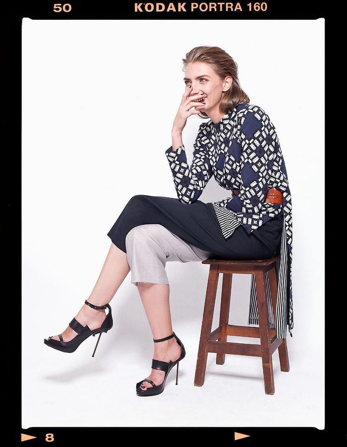 LOOK_012: Fractal Circle Sweater _ Navy + White; Striped Miao Basic T _ Black + White; Split Tone Trousers _ Navy + Grey