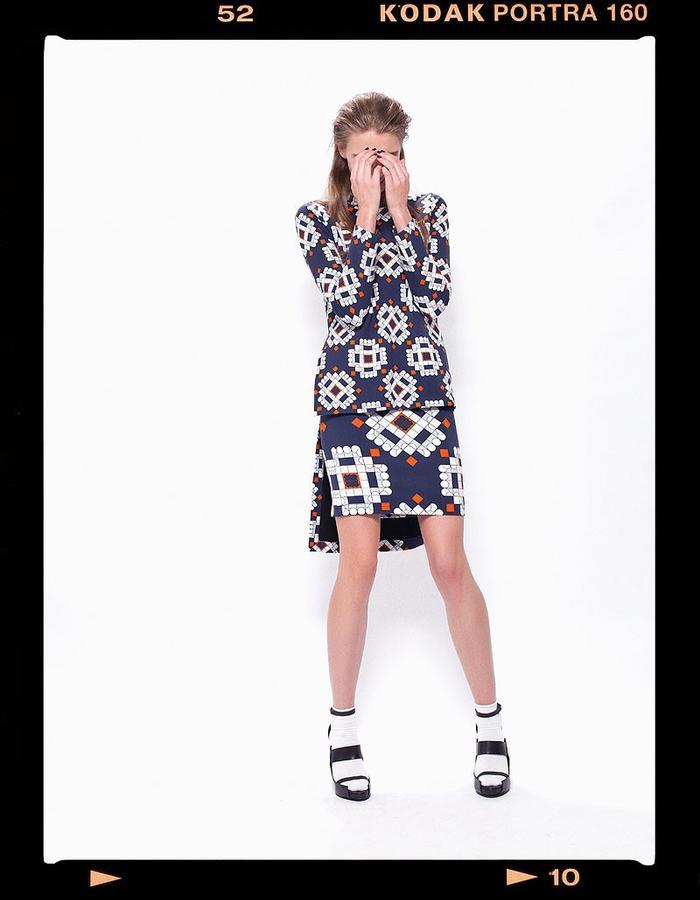LOOK_014: Diametric Fractal Circle Sweater _ Navy + Orange; Diametric Fractal Circle Mini Skirt _ Navy + Orange