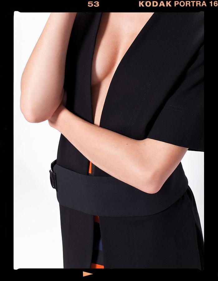LOOK_015: Long-Line Jacket _ Black; Split Tone Pencil Skirt _ Navy + Orange