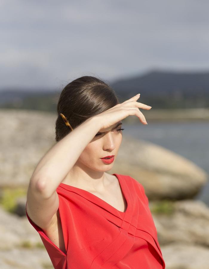 Red pleated dress ss15 LIVLOV