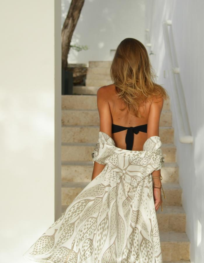 Lotty B 2015 Collection Leaves Print Charmeuse Silk Shirt Dress
