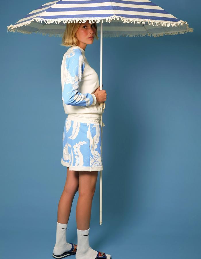 alan auctor ss16 bat print sweat pants and sweat shirt with striped beach umbrella