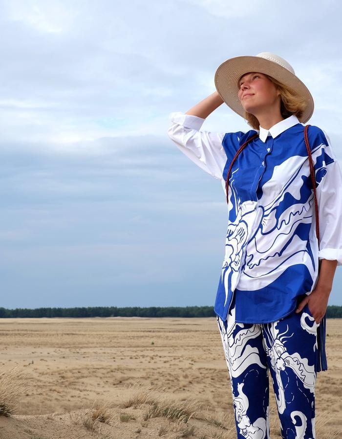 alan auctor ss16 bat print collard shirt long desert