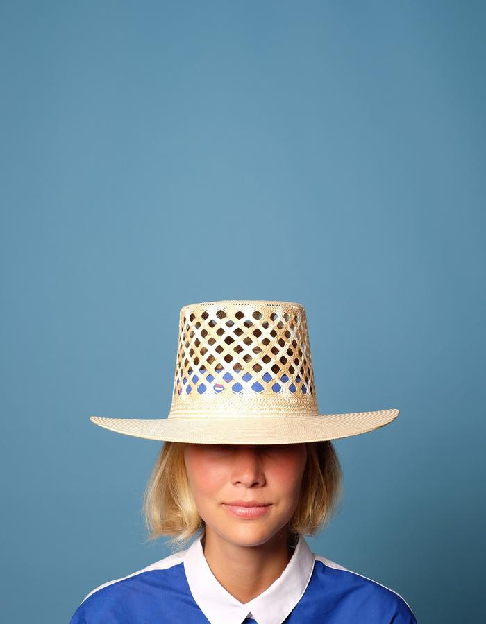 alan auctor ss16 tall open weave wide brim straw hat