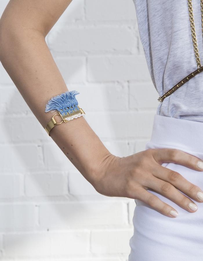 Riptide bracelet (denim fringe, lace and raw brass)