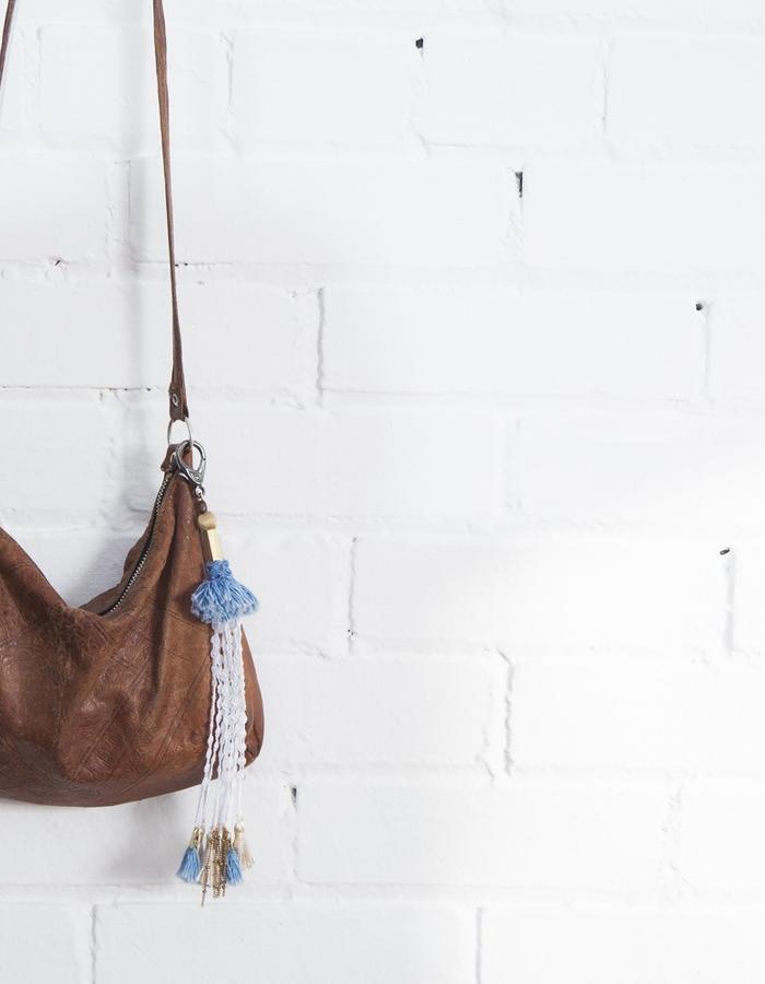 Banjara bag accessory (lace, denim fringe tassels, vintage chain)