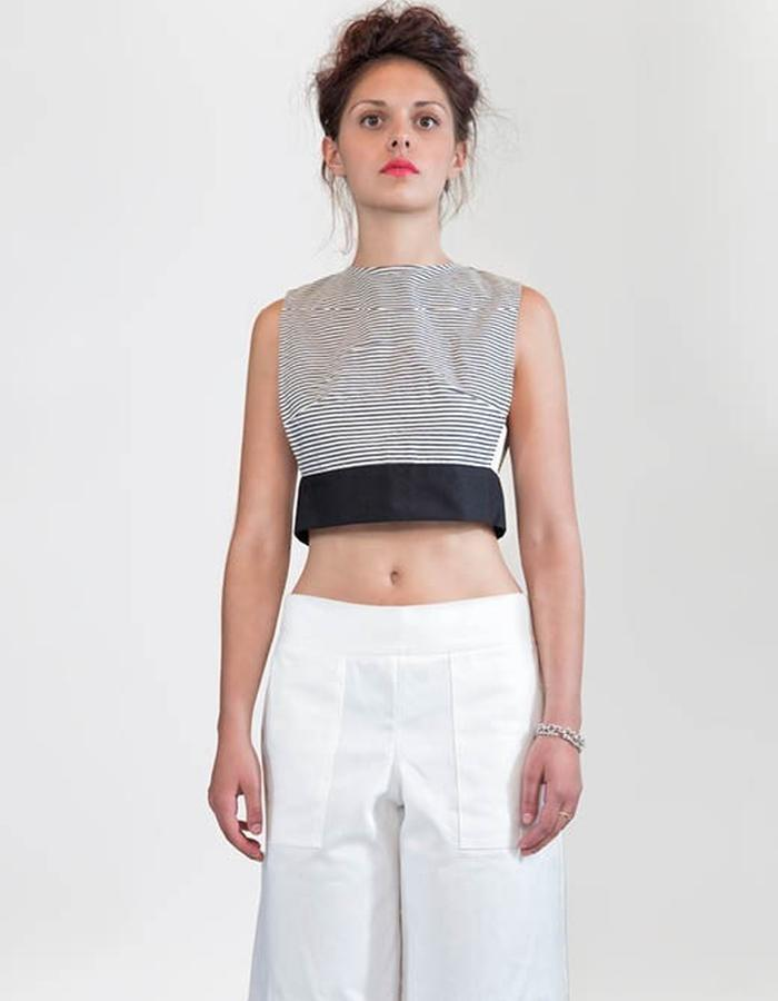 Summer top is striped cotton and gabardine cotton pants.