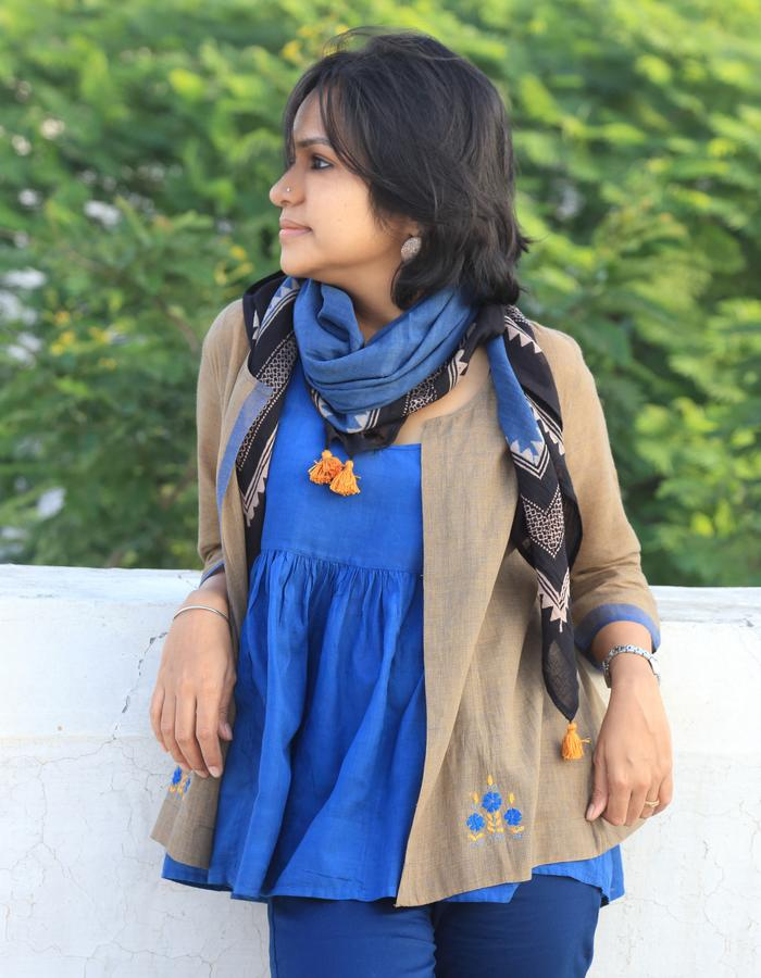 Mahika- front open shirt with inside gathered cami