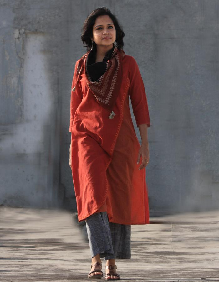 Akila- overlap long dress with embroidery detail