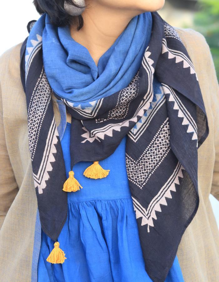 Ajrakh scarf- indigo/ black/ beige with tassel detail
