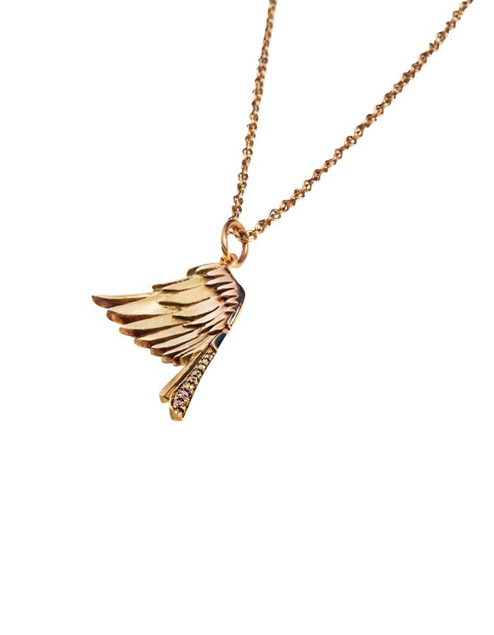 """LITTLE WING - 9ct yellow gold eagle's wing pendant is beautifully carved with feather details and has brown diamonds grain-set in the tail feathers. The pendant measures approx 25mm long and hangs on an 18"""" trace chain."""
