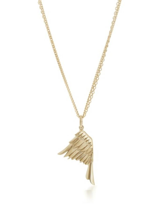 """LITTLE WING - gold plated, silver eagle's wing pendant is beautifully carved with feather details. Pendant measures approx 25mm long. Hangs on a double 18"""" trace and curb chain necklace."""