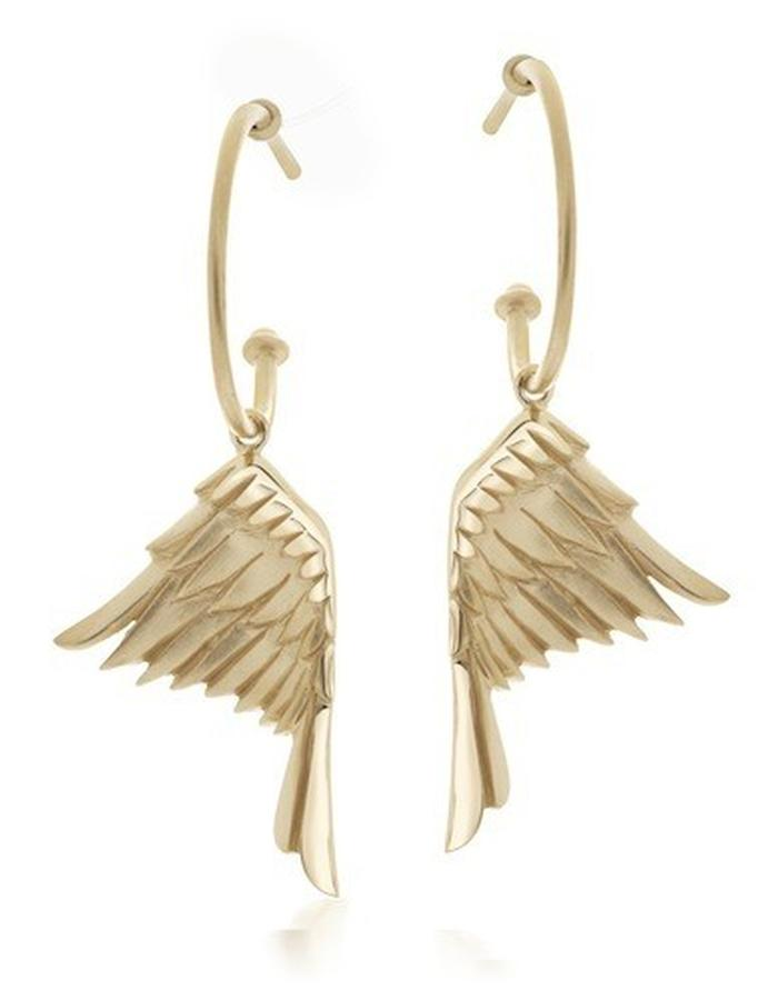 HOOP WING -  gold plated, silver beautifully carved eagle's wings measuring 25mm each hang on a pair of silver hoops measuring approx 17mm in diameter.