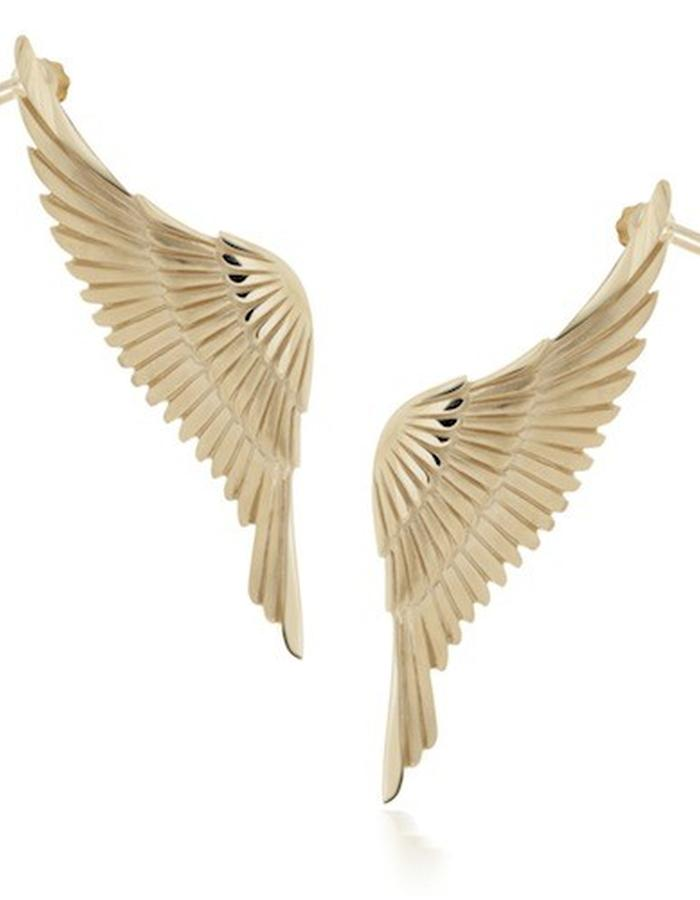 EARRWING - gold plated, silver ear cuffs worn as pierced earring studs with screw fittings to secure further up the ear. Each piece is beautifully carved with feather detail and measures approx 65mm from wing tip to tail feathers.